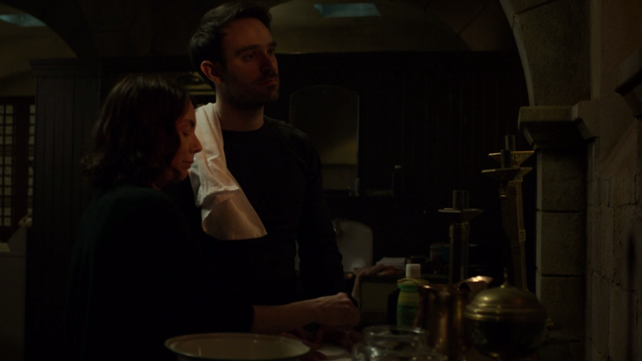 Maggie helps Matt with his bleeding knuckles, as seen in Marvel's Daredevil, season three episode three