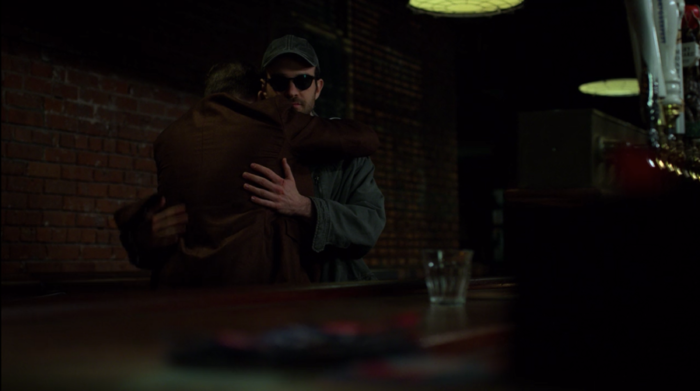 Matt and Foggy huggin in Daredevil season three, episode three
