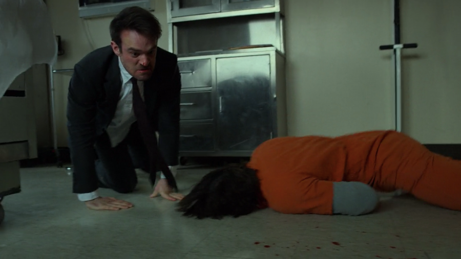 Matt on the floor after beating down three guys and a suspicious nurse, as seen on Marvel's Daredevil, season three episode four