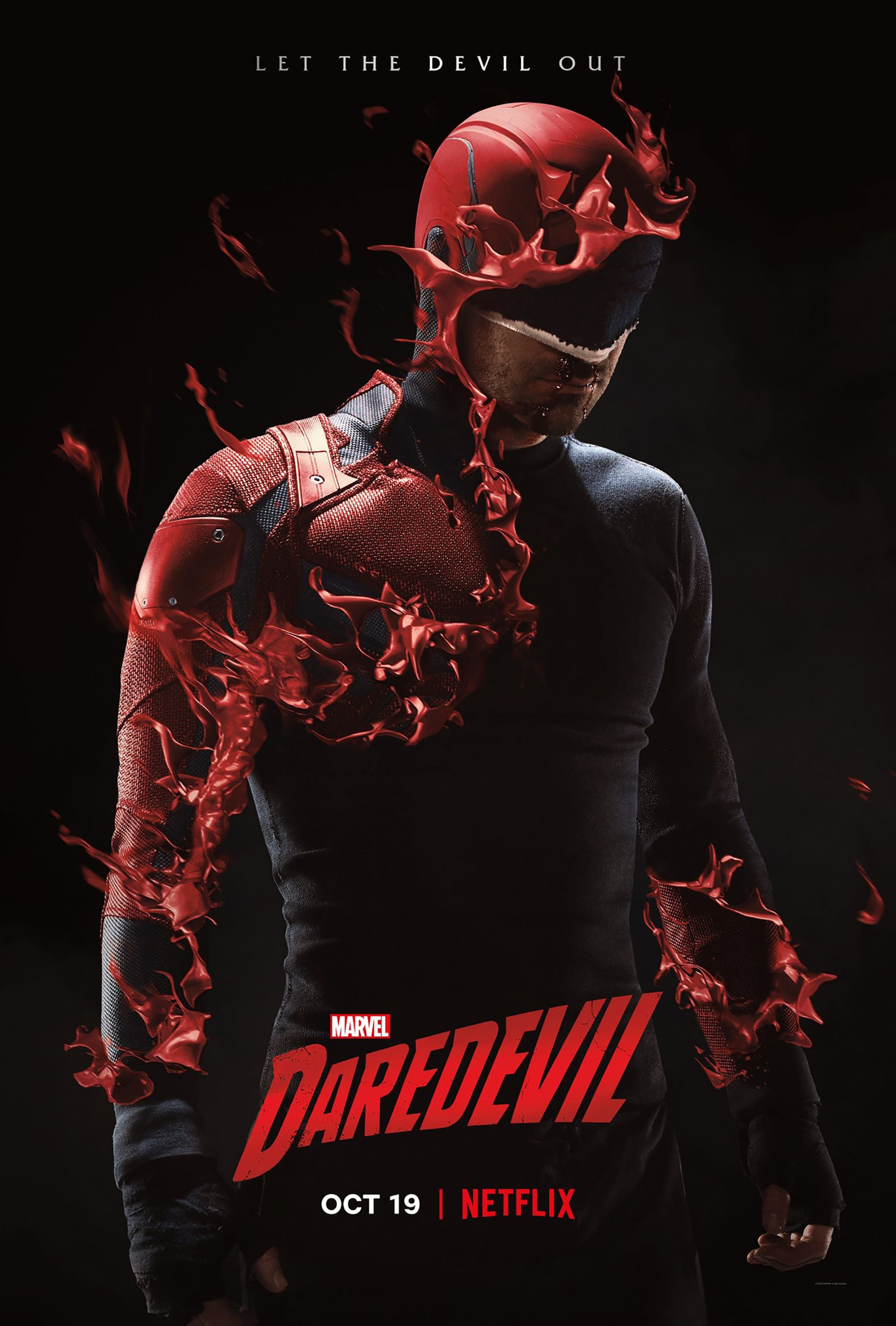 "Poster showing the Daredevil costume melting off of Matt's body, revealing the black ""Devil of Hell's Kitchen"" costume underneath."