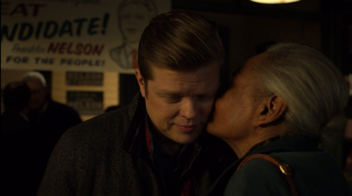 Foggy fan kissing him at his campaign event in Daredevil season three, episode five