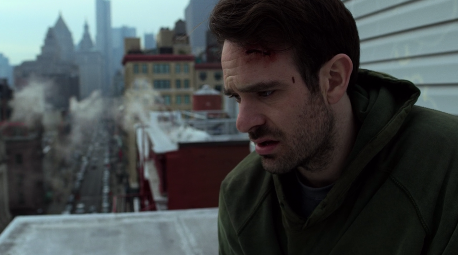 Matt listens to the FBI while hiding on his roof, as seen on Marvel's Daredevil season 3, episode 5