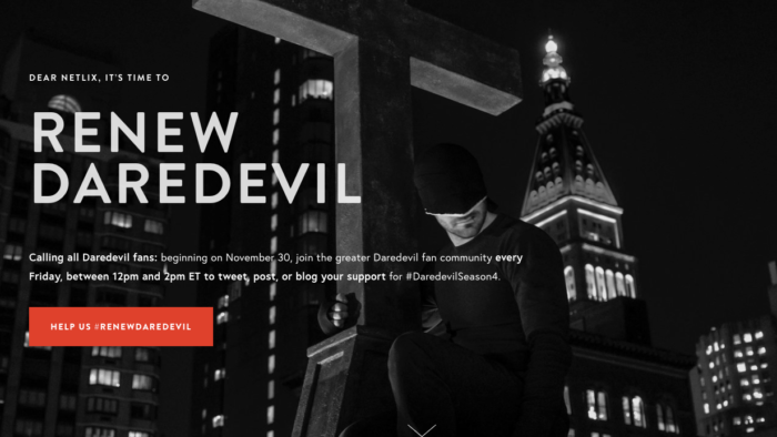Screen grab from the Renew Daredevil campaign official website