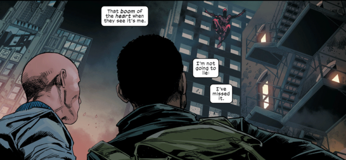 Daredevil out on the town, as seen in Daredevil #1 (vol 6), by Chip Zdarsky and Marco Checchetto