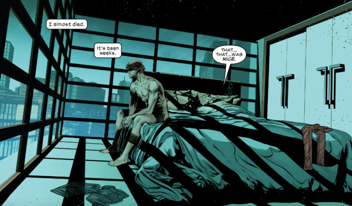 Matt in bed after sex, as seen in Daredevil #1 (vol 6), by Chip Zdarsky and Marco Checchetto