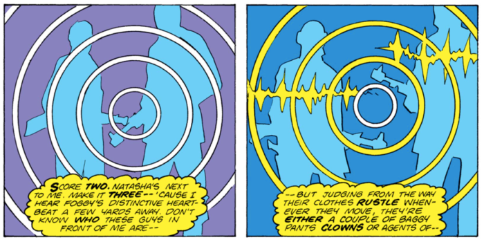 Matt, as Daredevil, is regaining consciousness and is trying to orient himself. Two side by side panels show the rough outlines of two men with guns. They are one color, the empty background is another.