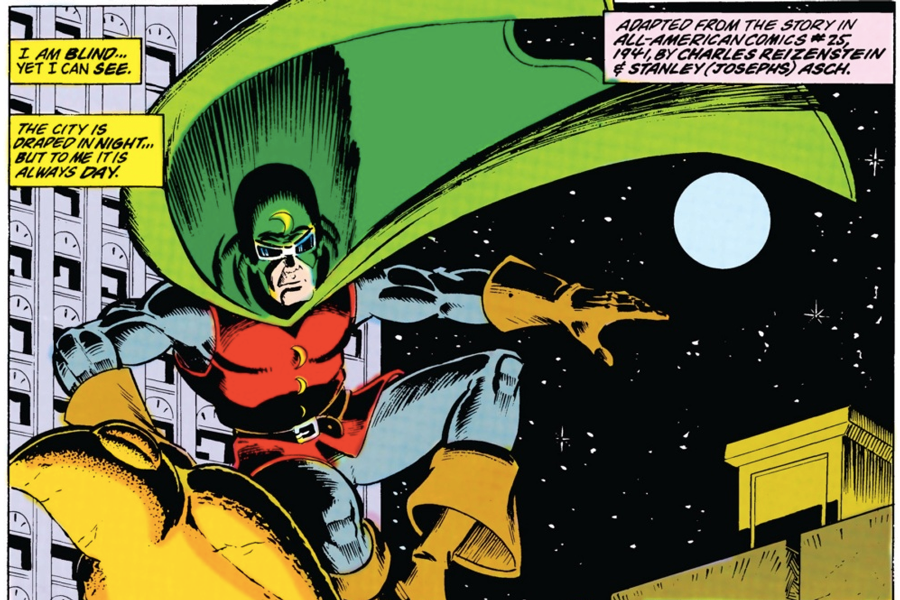 Dr. Mid-Nite perching on the top of a building, as seen in Secret Origins #20, by Roy Thomas and Mike Clark