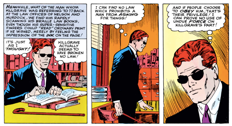 Matt reads braille at the library, in Daredevil #4 (1964), commenting that he could read print just as fast, by feeling the imprints